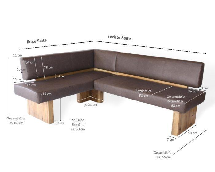 Eckbank aus Massivholz mit hervorragendem Sitzkomfort für Esszimmer und Küche