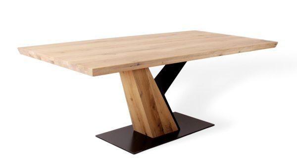 Besonderer Designertisch aus Massivholz Eiche und Metall in besonderem Design