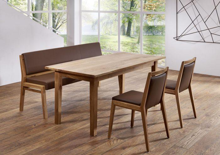 tolle Sitzbankgruppe aus Massivholz und Leder