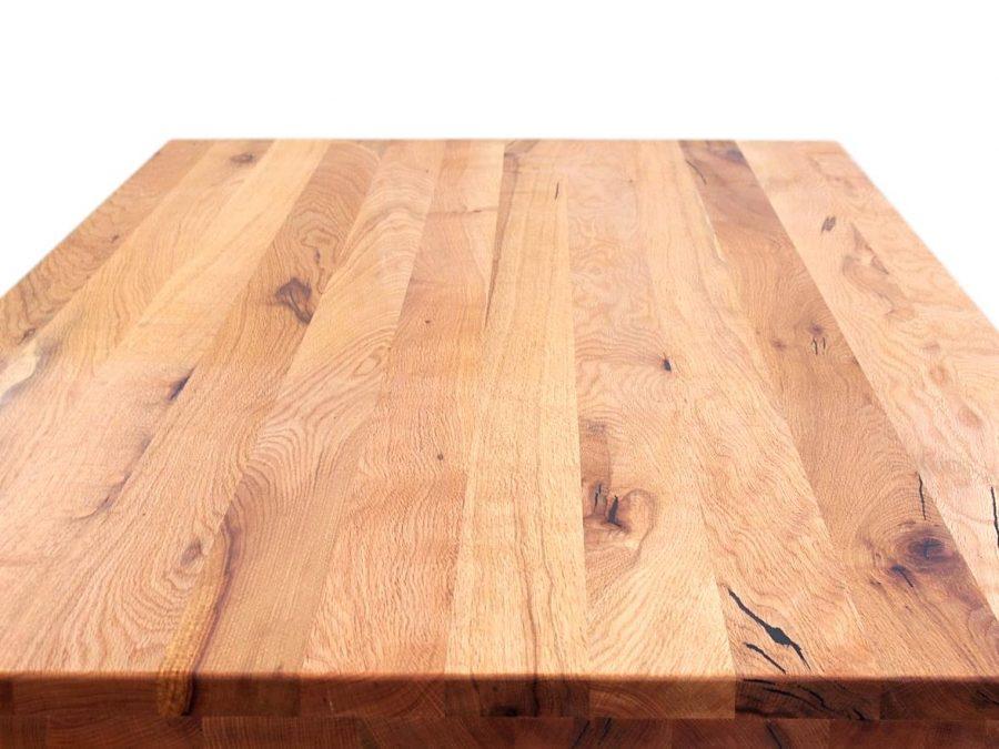 tischplatte aus rustikalem massivholz eiche