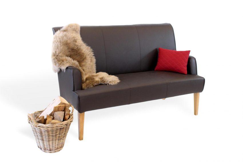 moderne Sitzbank für das Esszimmer und die Küche aus Leder und massivholz
