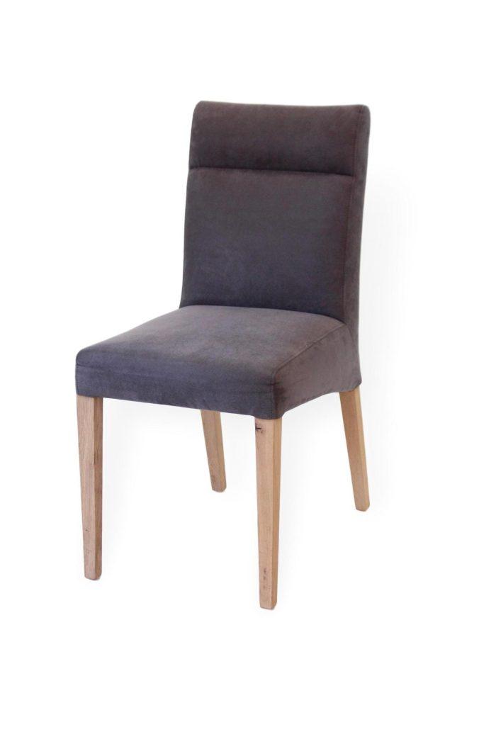 stuhl für esszimmer aus massivholz und grauem leder