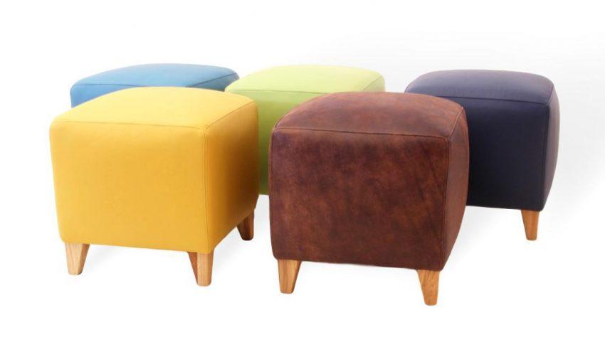 Moderner Sitzhocker aus echtleder