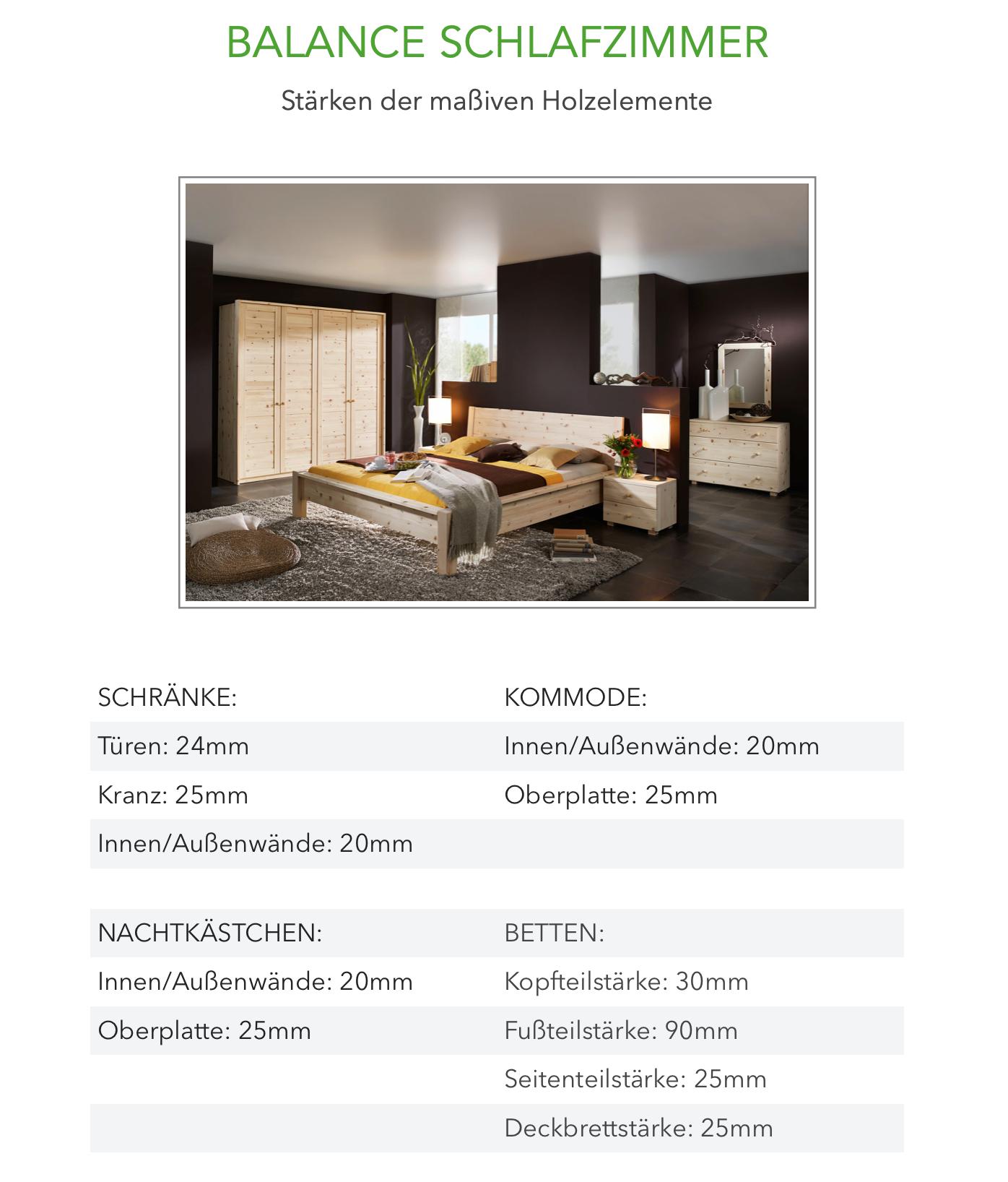 Balance Schlafzimmer aus Zirbenholz