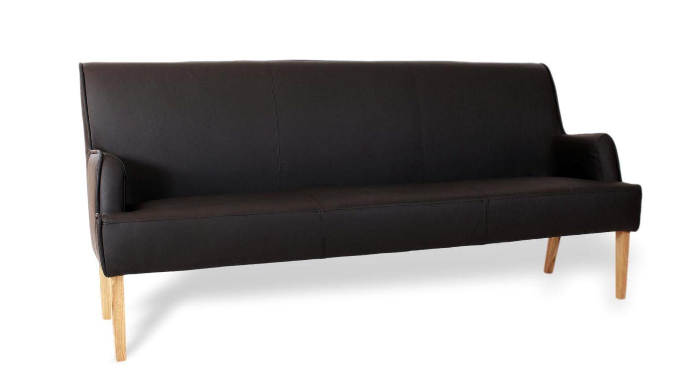 seltene Sitzbank für esszimmer und küche mit hoher lehne aus leder und massivholz