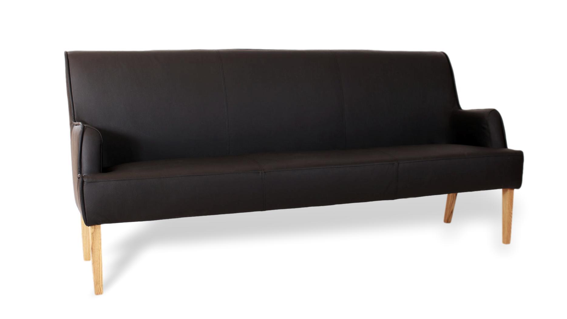 bequeme Sitzbank für esszimmer und küche mit hoher lehne aus leder und massivholz