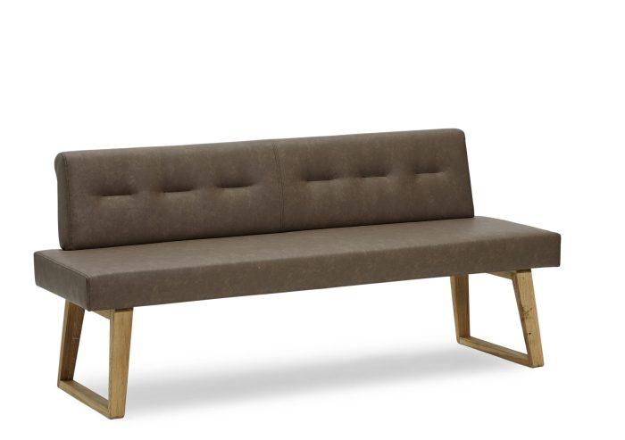 Exklusive Sitzbank aus Echtleder und massivholz