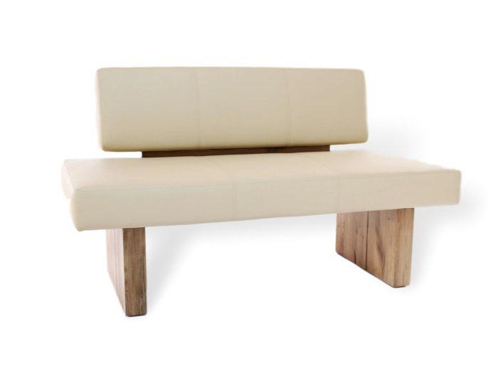 moderne, bequeme sitzbank aus leder und massivholz mit weicher polsterung