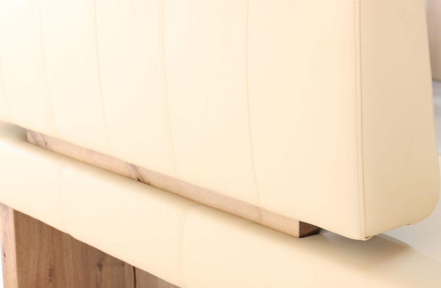 moderne bequeme sitzbank aus leder und massivholz mit weicher polsterung