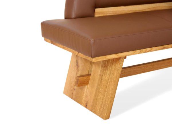 Kklassische Sitzbank aus Leder und Massivholz