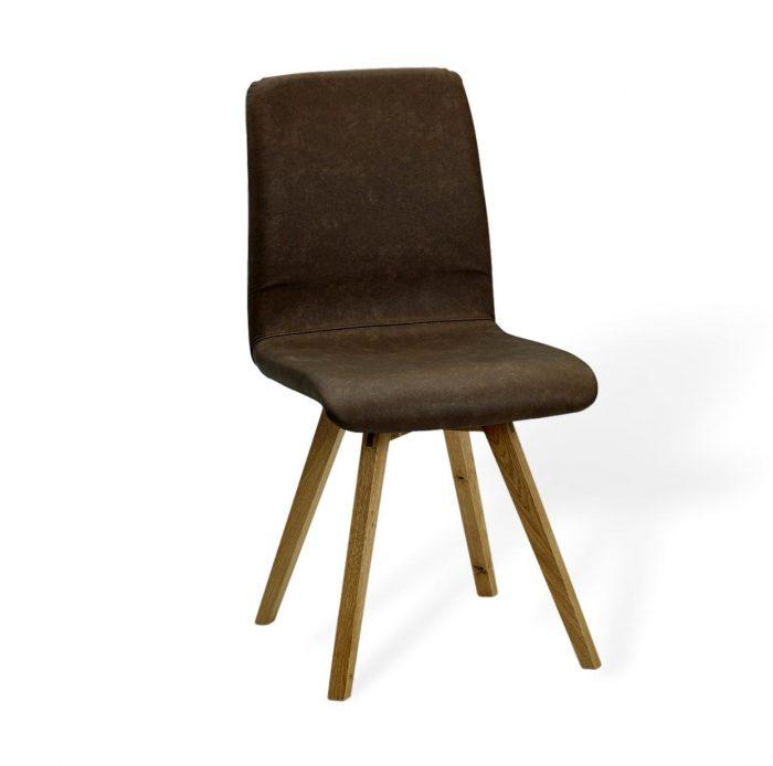 Moderner Esszimmerstuhl aus leder und massivholz in tollen Linien
