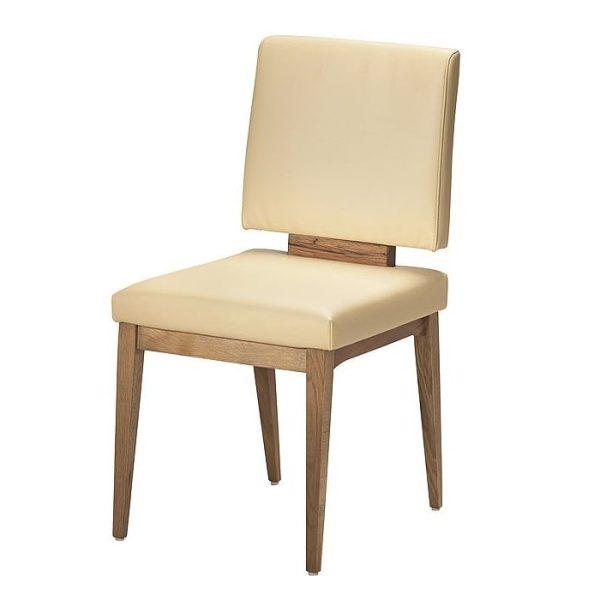 Moderner stuhl im american diner stil. designerstuhl aus massivholz und leder und kunstleder