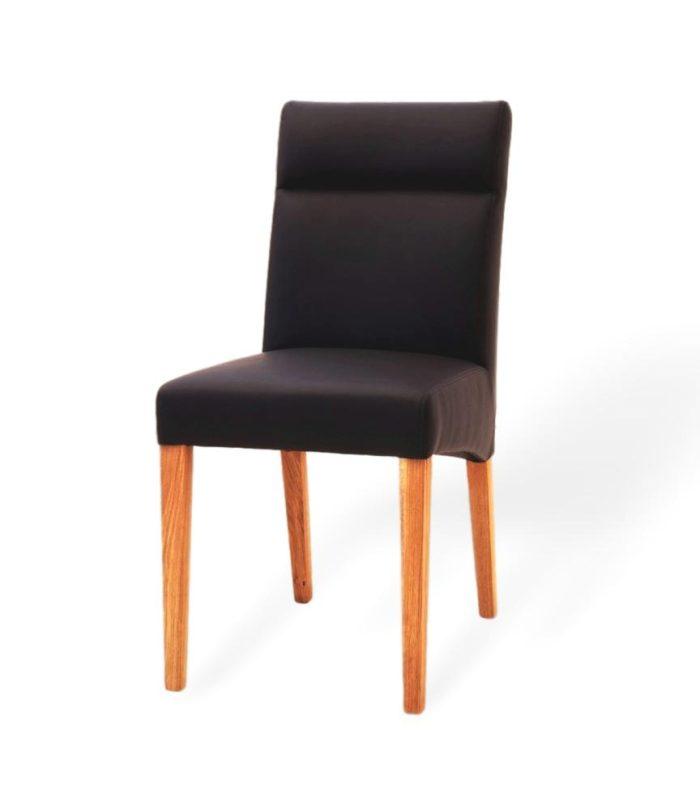 Eleganter Esszimmerstuhl aus Massivholz und echtleder