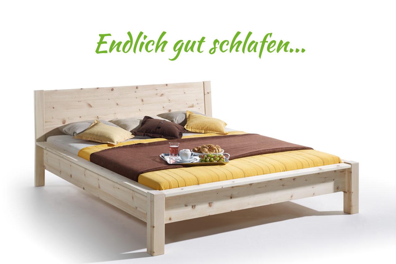 Modernes Bett aus zirbenholz von bester Qualität. Bett aus Zirbe