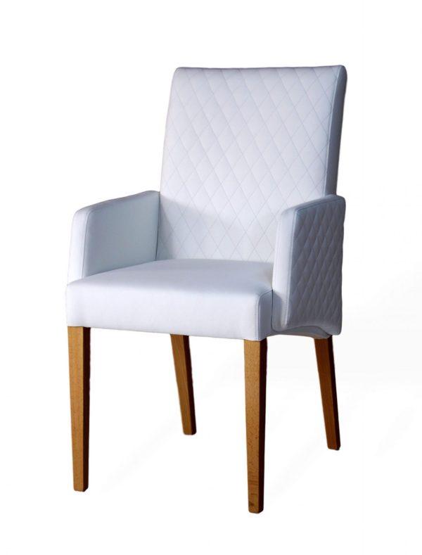 moderner designrstuhl aus massivholz und echtleder mit ziernaht
