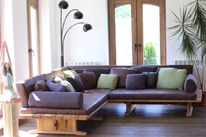 Luxus Sofa aus massivholz und leder