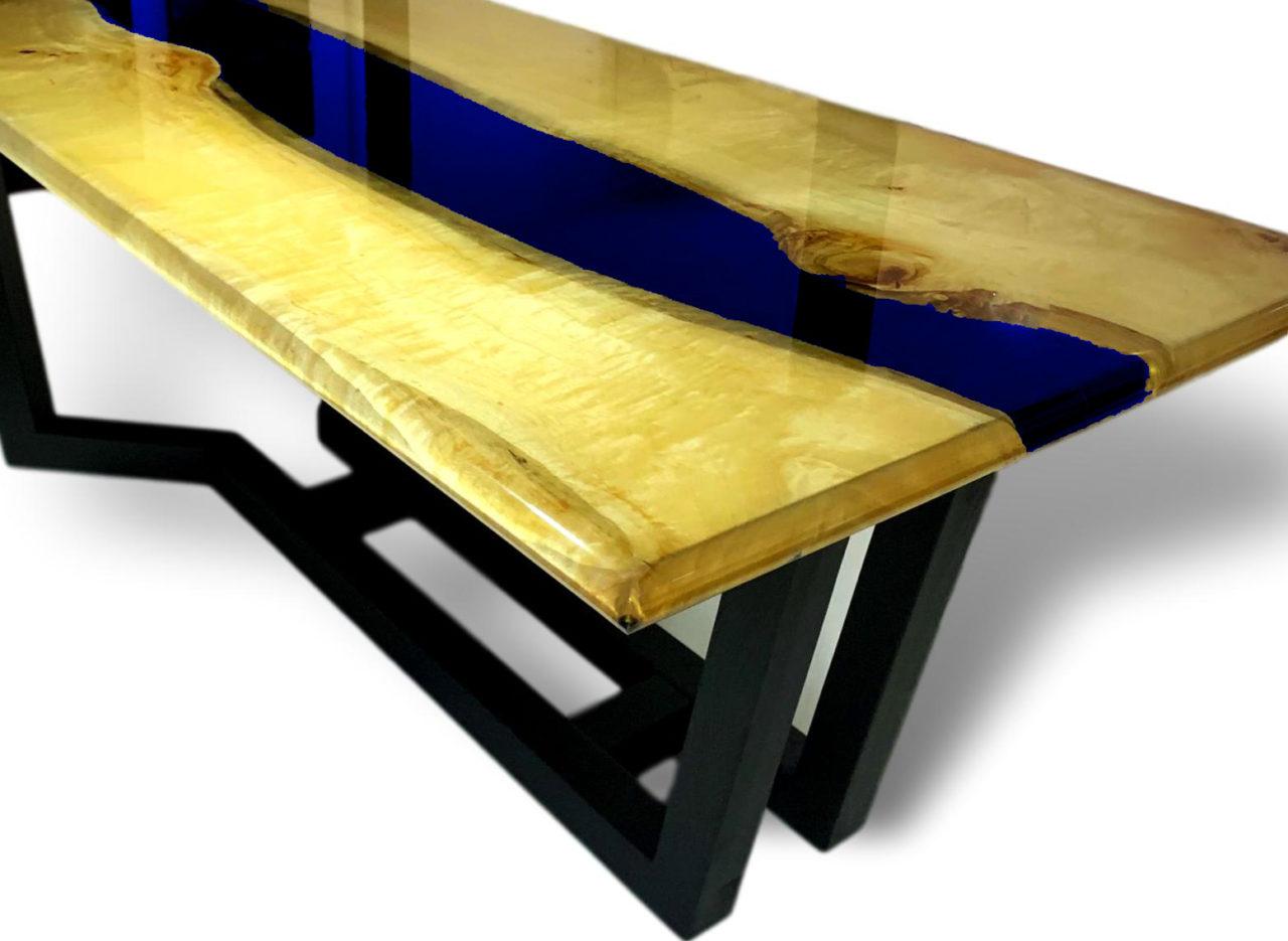 MIDDLE RIVER | Seltener Tisch aus Epoxidharz und Massivholz | MITTELFLUß