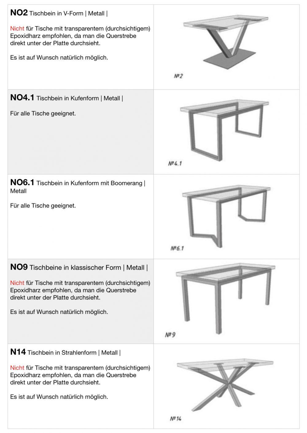 Tischbeine aus Metall für Epoxidharztische