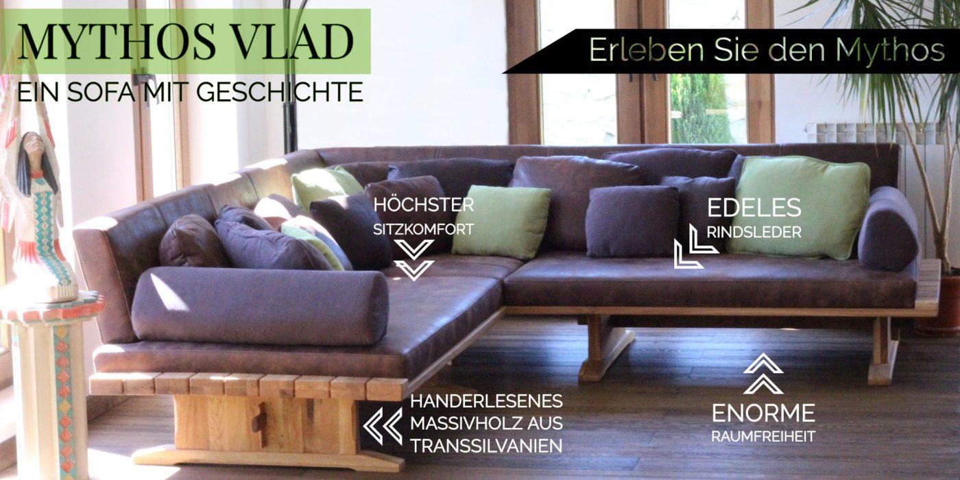 Einmaliges Luxus Sofa aus Massivholz und Leder in Handarbeit