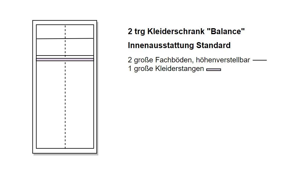 Skizze des 2 türigen Schranks von Naturnah Möbel - Massivholzmöbel auf Maß