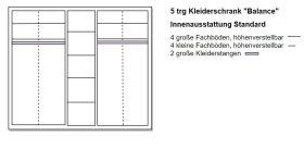 Skizze 5 türiger Schrank von naturnah Möbel - Massivholz auf Maß