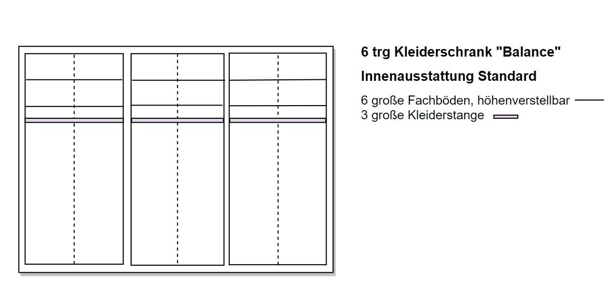 Skizze 6 türiger Schrank aus Massivholz