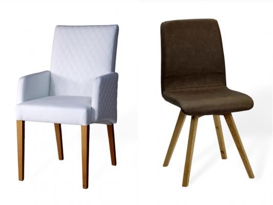 Stuhl aus Leder und massivholz