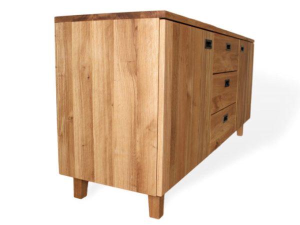 Modernes Sideboard aus Massivholz mit drei Schubladen und Türen