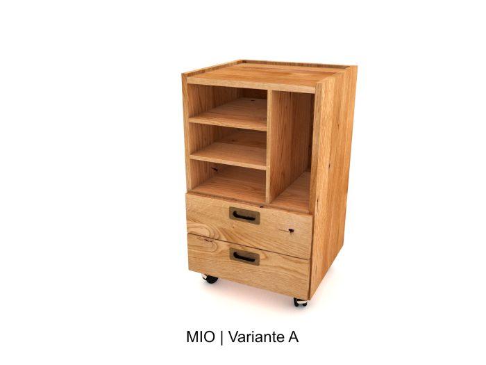 Rollcontainer für Home office aus Holz