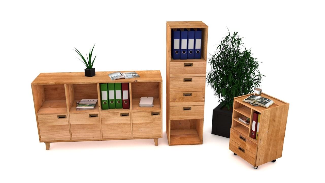 Ordnungssystem aus Massivholz für office