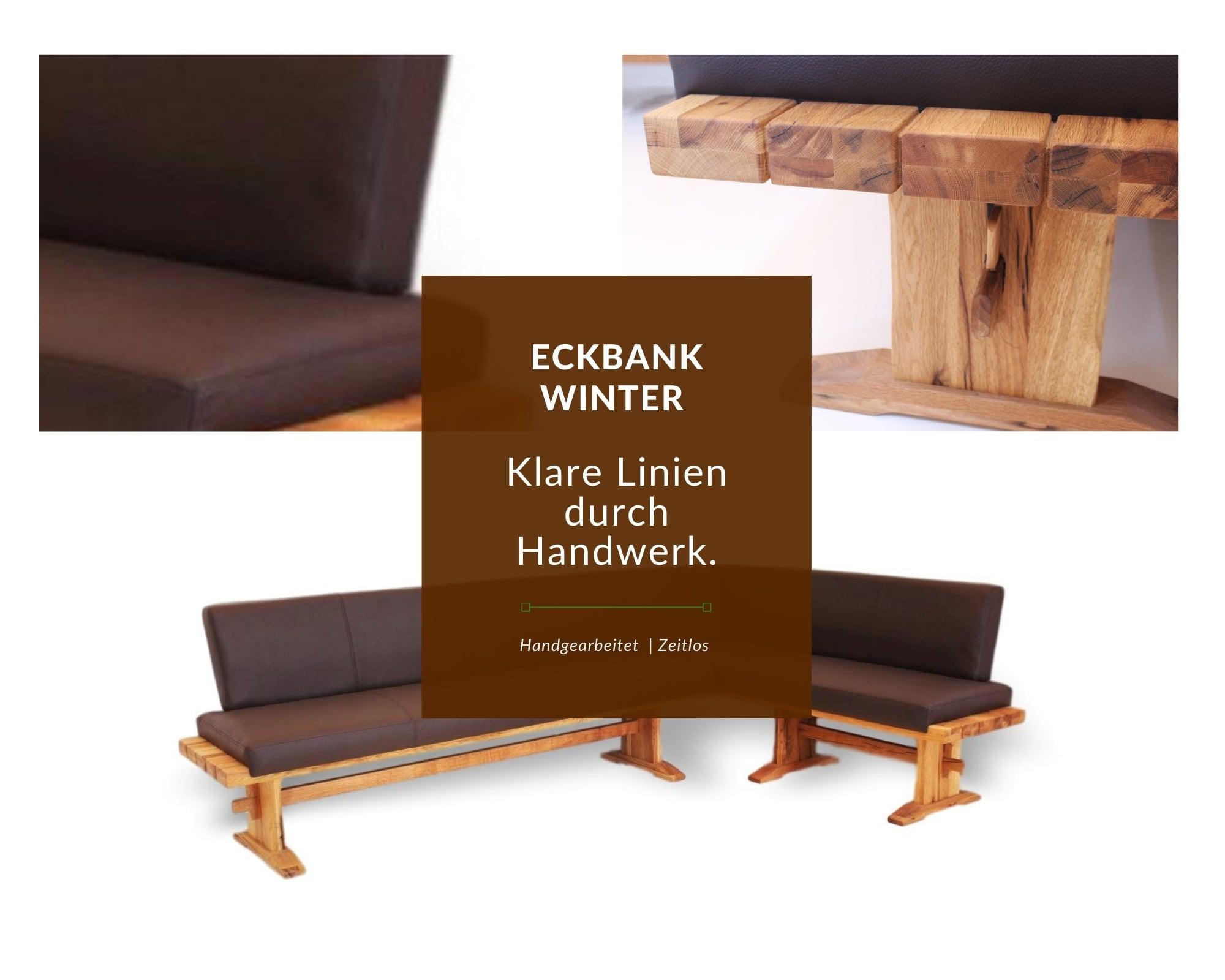 rustikale moderne eckbank aus massivholz und leder