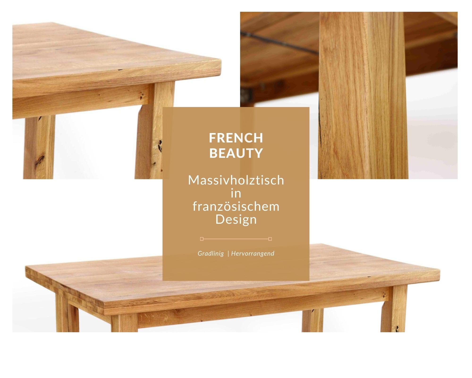 french beauty massivholztisch im französischen design, esstisch aus massivholz