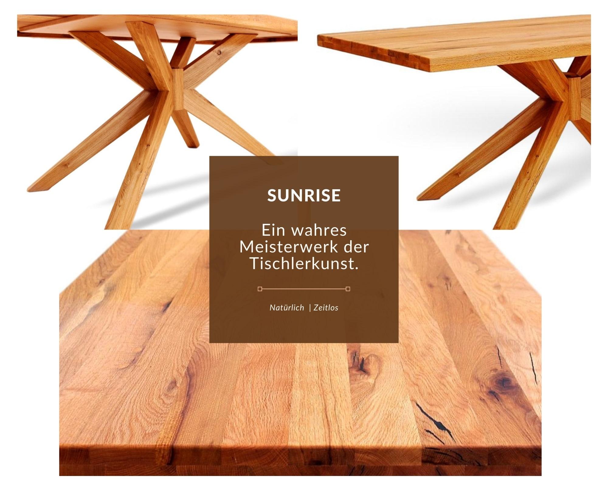 esstisch aus massivholz sunrise besonderes tischgestell aus massivholz