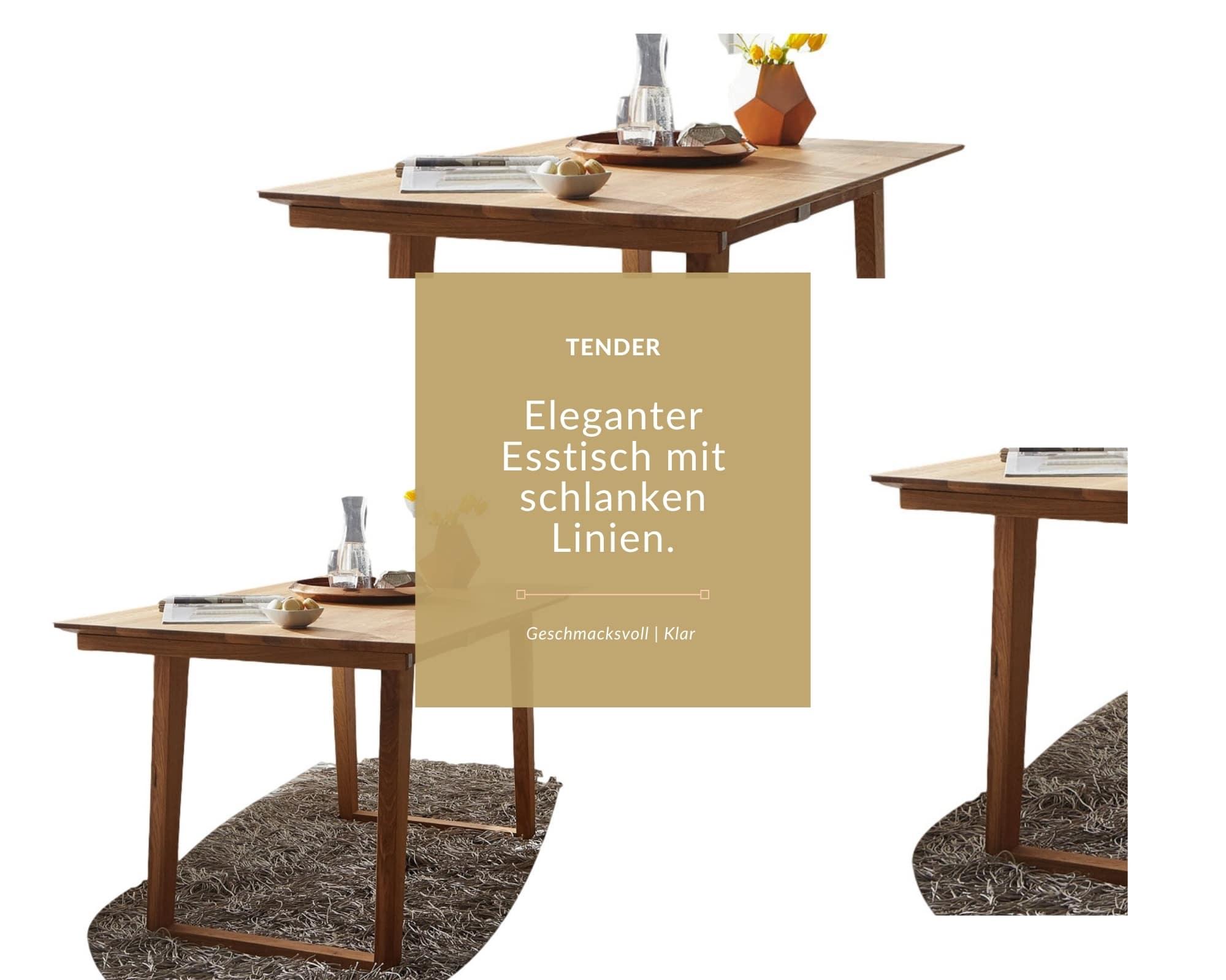 schlanker esstisch aus massivholz mit designer tischgestell