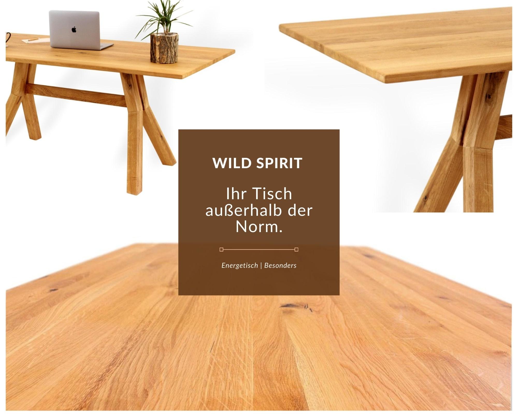 wildspirit massivholztisch mit besonderem tischgestell detailfotos