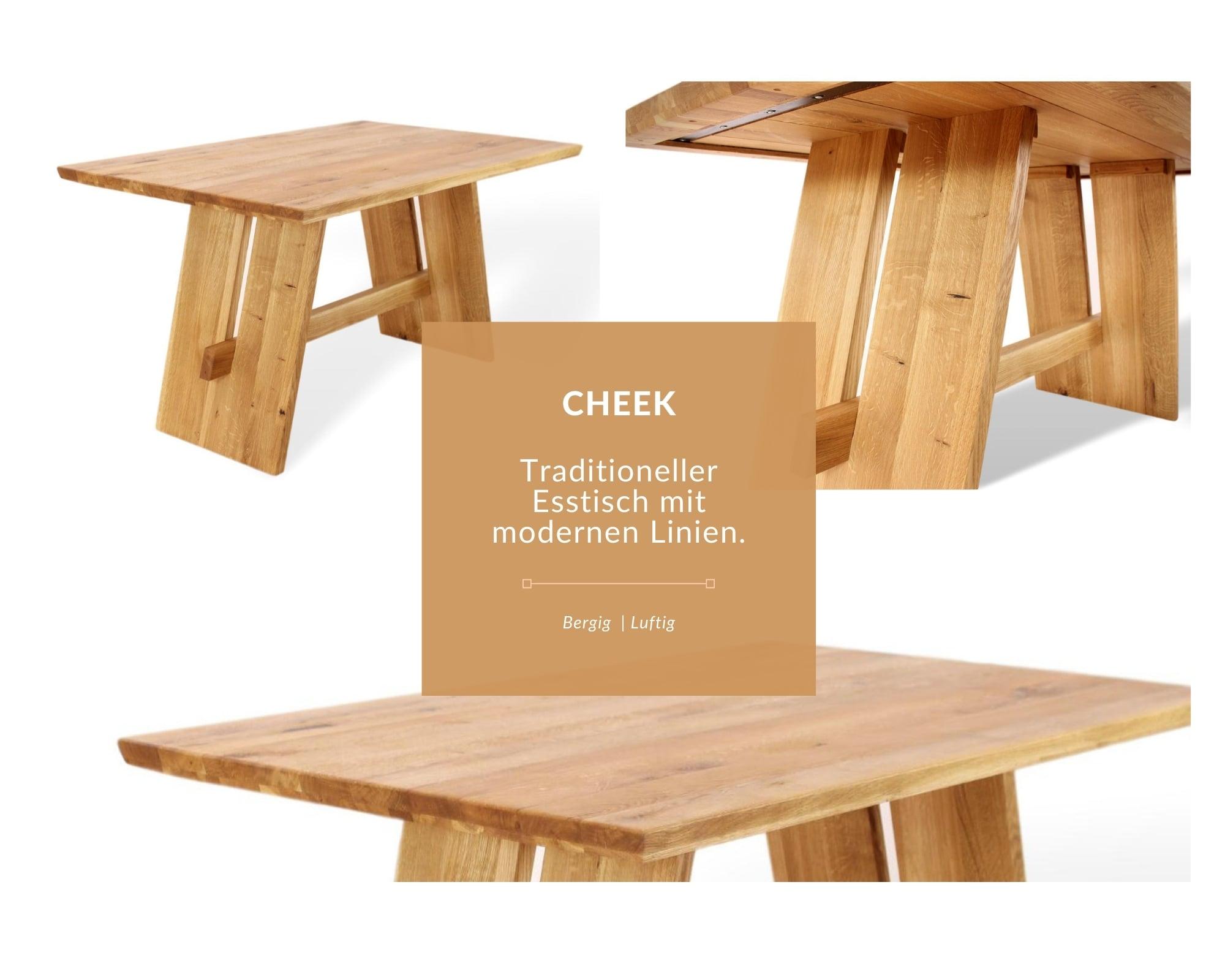 moderner esstisch aus naturholz mit wangen-in-detail