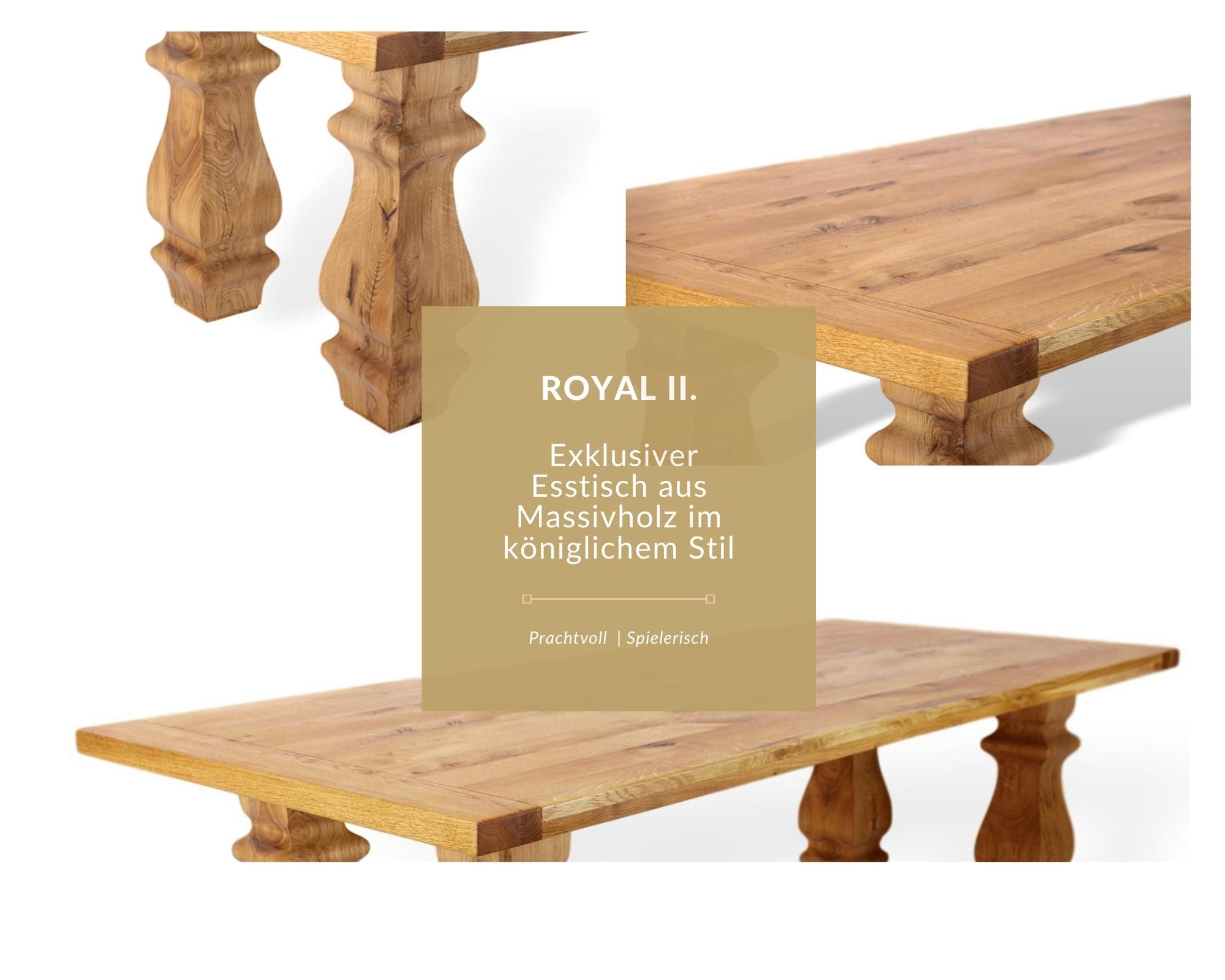 massivholztisch mit besonderem stil, köngliches tischgestell