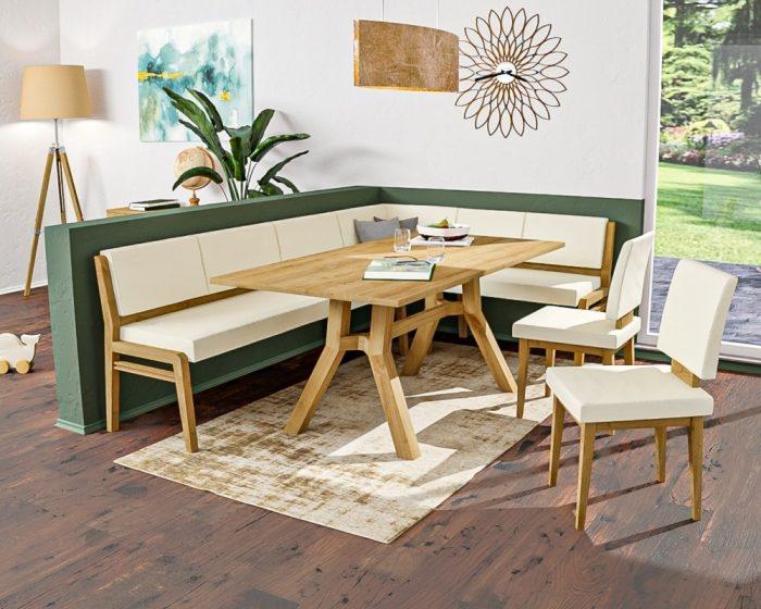 Moderne Eckbank mit schlanken Linienn aus massivholz und echtleder mit viel Platz