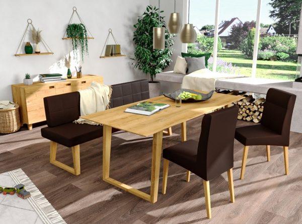 sitzbankgruppe aus massivholz und echtleder polster design