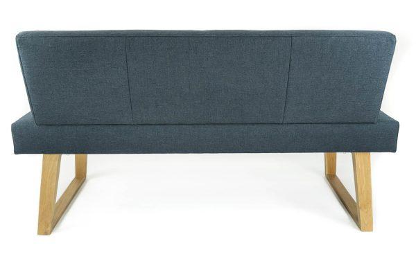 Rückseite sitzbank aus massivholz und Stoff sowie kunstleder und polsterung