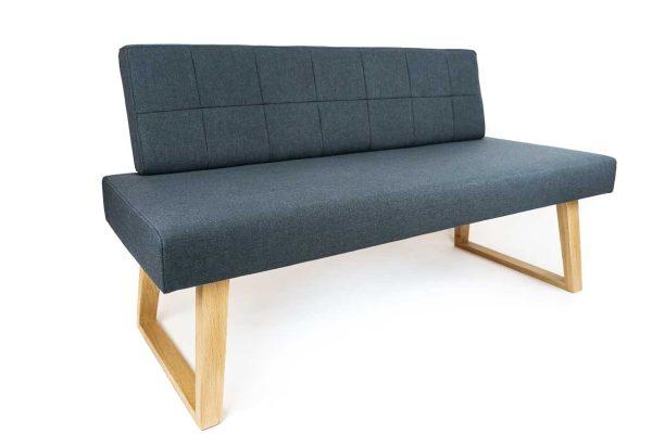besondere Sitzbank in kunstleder und massvholz eiche mit beinen in u-form