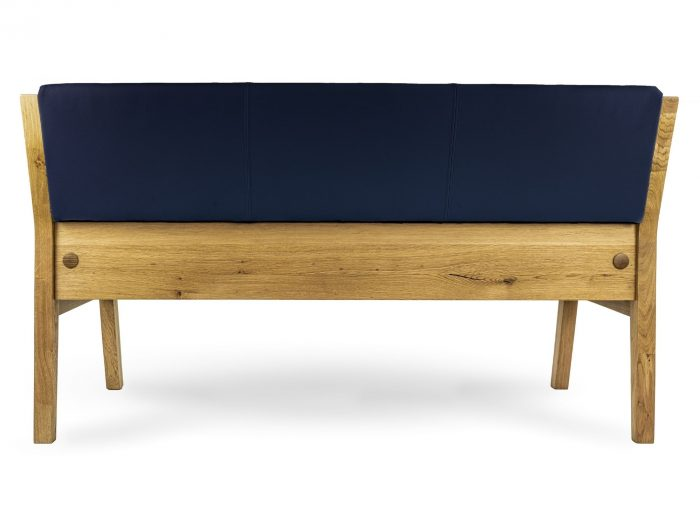 sitzbank aus massivholz rückseite kunstleder dunkelblau