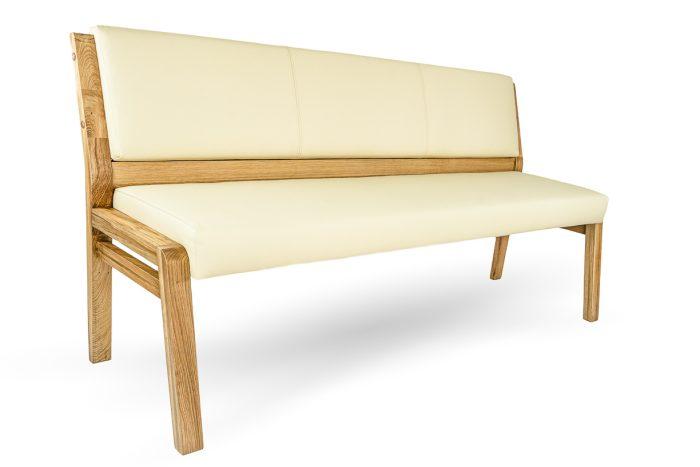 Moderne Sitzbank aus nachhaltigem massivholz und Leder sowie veganes kunstleder uns stoffe