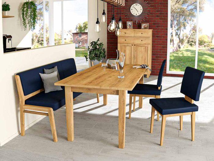 Sitzbank aus massivholz eiche mit blauem leder und esstisch aus eiche