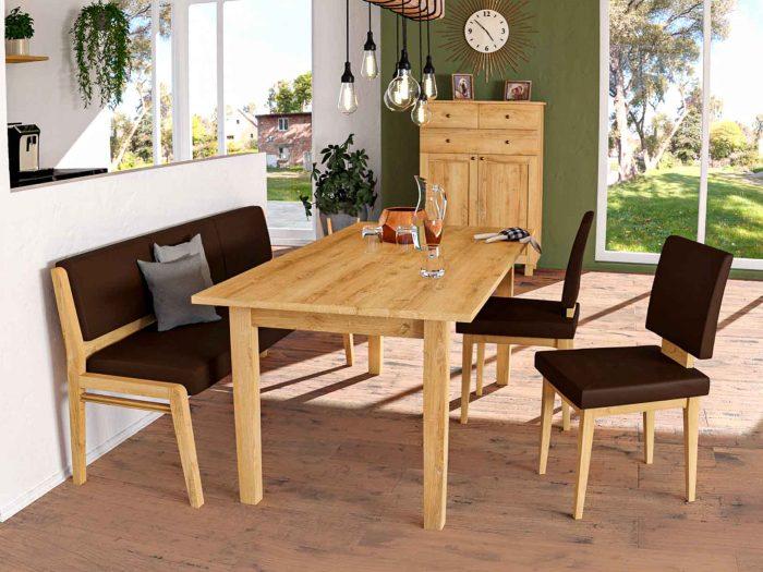 Moderne Sitzbank nach maß aus massivholz und leder