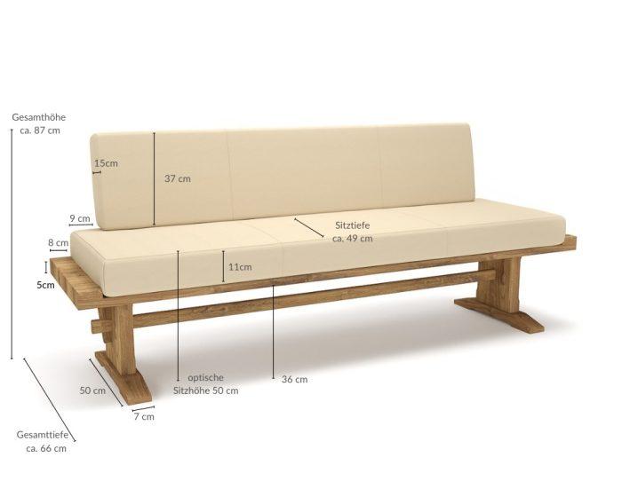 klassische Sitzbank Winter Massivholz