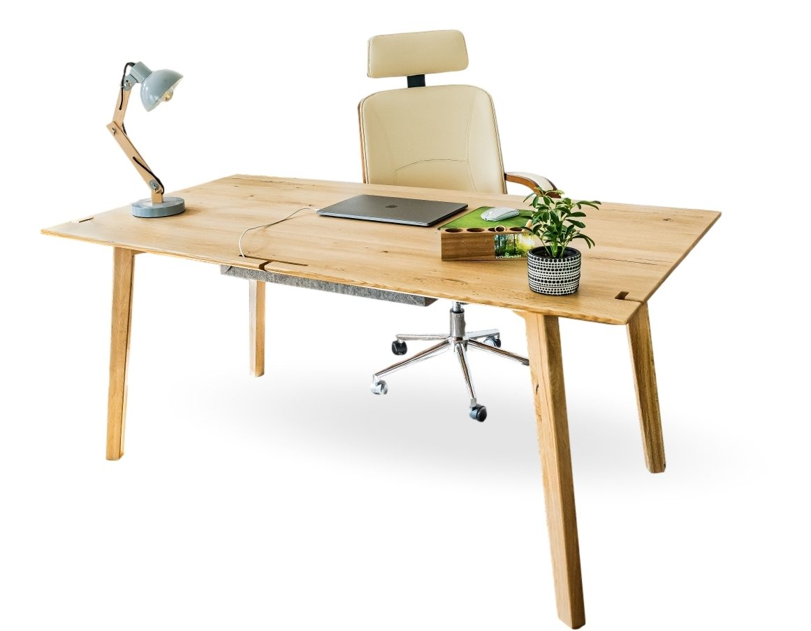 schreibtisch aus massivholz mit funktionen wildeiche design handgefertigt