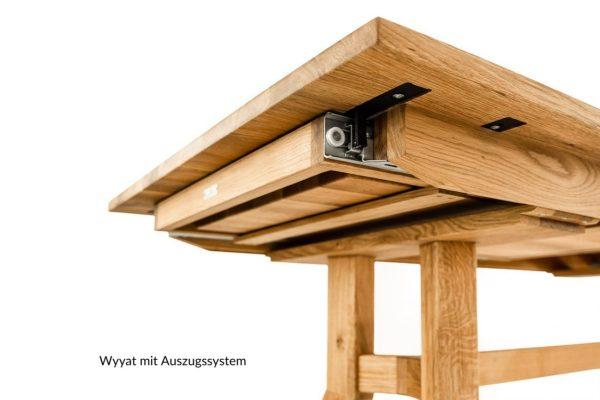 auszugsfunktion von einem massivholztisch aus wildeiche