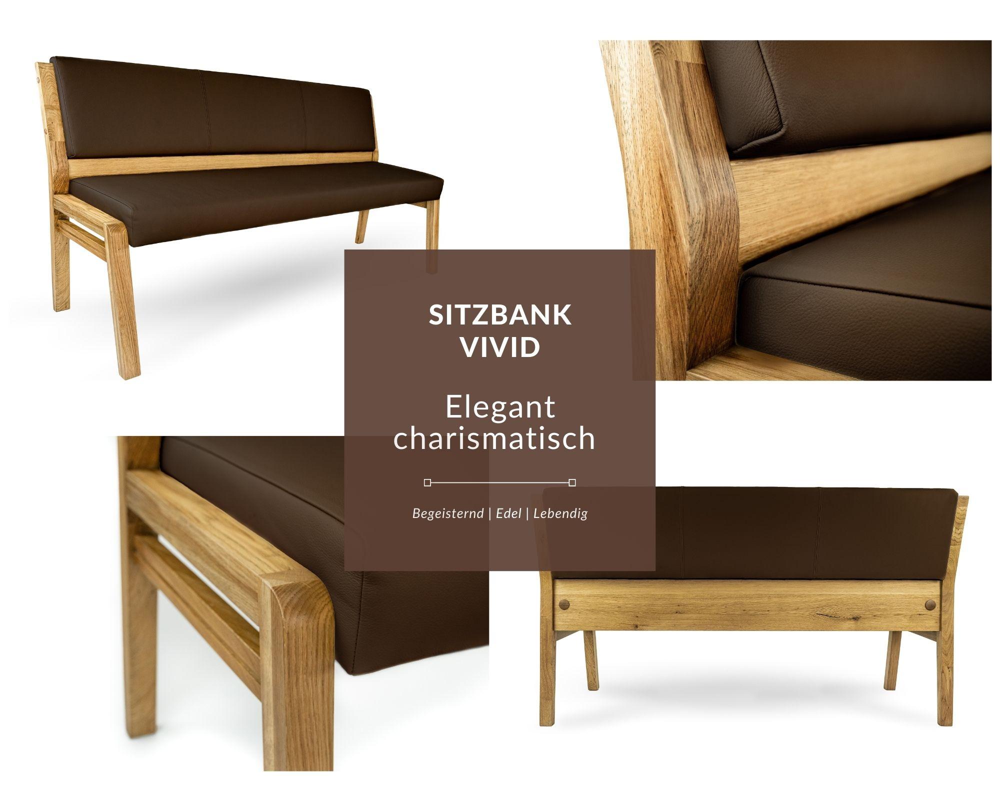 sitzbank modern aus massivholz mit echtleder polster