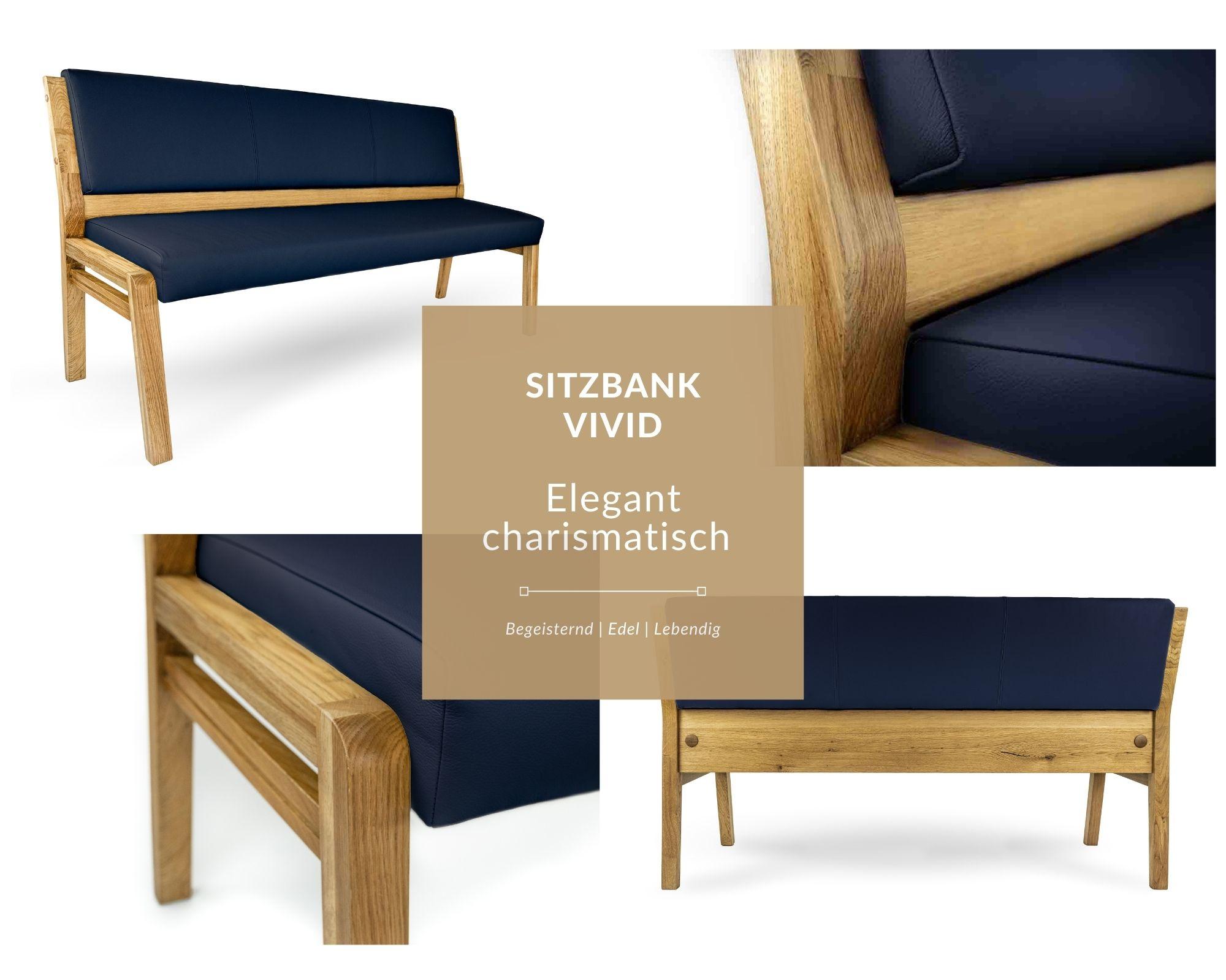 moderne sitzbank aus massivholz in kunstleder dunkelblau